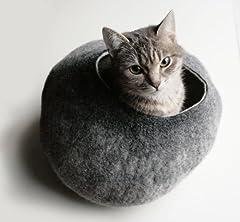 まぁるくてヌクヌクな猫ちゃんの隠れ家!Felted Cat House グレー