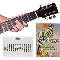ギターフレット 指位置を覚える ギター 初心者 練習 用 音名 配置 指板 シール セット(白い透明)