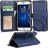 【Arae】iPhone6s / 6 Plus ケース 手帳型 スタンド ストラップ カード マグネット 財布型 落下防止 衝撃吸収 おしゃれ おすすめ アイフォン6S / 6 プラス ケース カバー (iPhone6s / 6 Plus , ダークブルー)