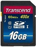 【Amazon.co.jp限定】Transcend SDHCカード 16GB Class10 UHS-I対応 400× (最大転送速度60MB/s) (無期限保証) TS16GSDU1PE (FFP)