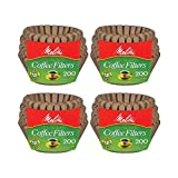 Melitta 8-12 Cup Basket Filter Paper (Natural Brown, 200 Count) by Melitta
