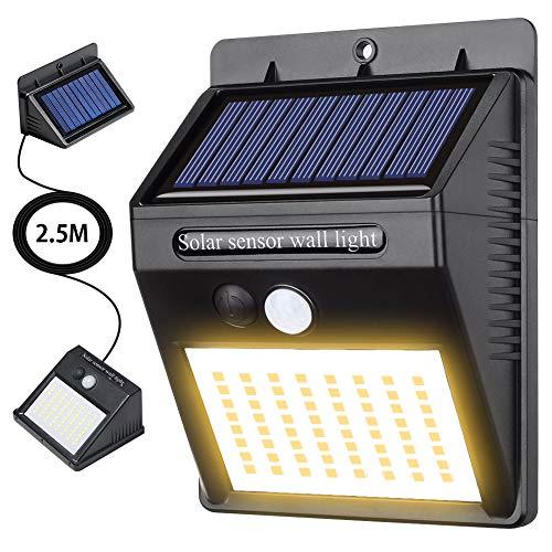 Merisny 最新分離型 ソーラーライト センサーライト 64LED パネル分離型 高輝度 太陽光発電 配線不要 三つ点灯モード 防犯 防水 玄関 庭 屋外 駐車場 取付簡単 (暖色)