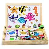 Dookey木製磁気ボードパズルゲーム海洋生物パターン100 PSCジグソーパズル&デッサンイーゼル黒板教育学習玩具2用ペン2?6歳