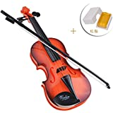 Herasa キッズ バイオリンおもちゃ 松脂付き子供 楽器玩具 知育玩具 バイオリン 誕生日プレゼント(オレンジ)
