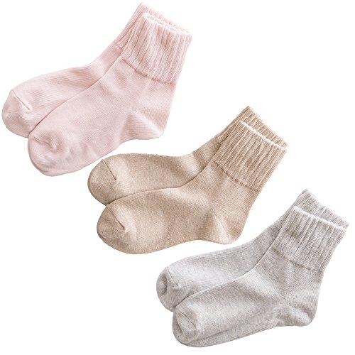 日本製靴下 グレー ベージュ ピンク オーガニックコットン ゆったり靴下 3足セット