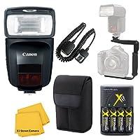 Canon Speedlite 470EX-AI フラッシュアクセサリーバンドルキット + フラッシュブラケット + AAバッテリーチャージャー + TTLコード + フラッシュディフューザー + マイクロファイバークリーニングクロス Canon EOS Rebel T6、T6i、T7i、SL2用