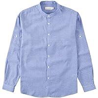 BYLUNTA Men Regular Fit Band Collar 100% Cotton Pinstripe Long Sleeve Daily Office Casual Business Shirt (MediumSky Blue)
