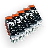 Canon(キャノン) 高品質 互換インクカートリッジ BCI-350XL ブラック5本セット 残量表示機能付 【増量タイプ】 Angelshopオリジナル (JAN:4580400480740)