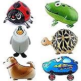 Outfun バルーン, 6xウォーキング動物バルーン 誕生日パーティーの装飾 子供のギフト カメ、カエル、ニュージーランド?ハンタウェイ、ビートルズ、ペンギン、カーを含めて