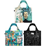 LOQI A71860 Museum Jean Michel Basquiat Reusable Shopping Bags, ((Set of 3), Warhol, Skull, Crown