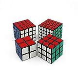 HJXDJP - Shengshou マジックキューブ [ 2X2& 3X3 & 4x4 & 5x5 ] 4個入り 標準色ステッカー立体パズル立体キューブ ポップ防止立体キューブ スムーズ回転キューブ 競技用パズルキューブ (黒素体)