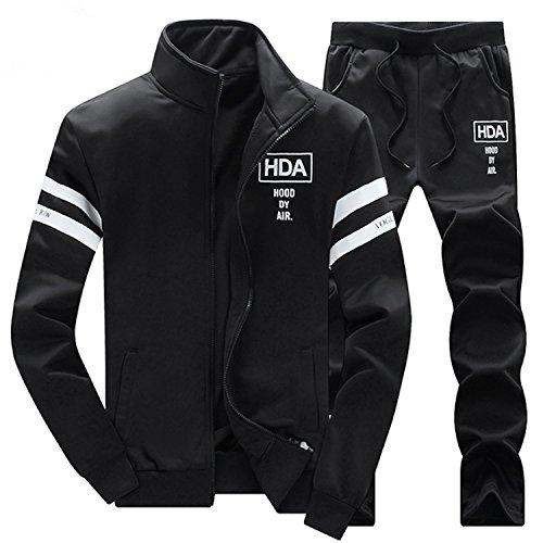 (コズーン)KO ZOON B49 メンズファッション セットアップ ジャージ 上下 セット 裏毛 2本 ライン 長袖 フード なし 前開き ジップアップ ジャケット ロングパンツ スポーツ ルームウェア (M, 01 黒)