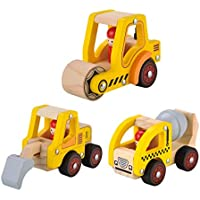 Kids Toyland pre-kindergarten Toys City Vehicles木の車モデル子供用木製Playセット( 3 ) Construction Car TL27132