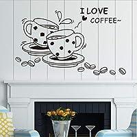 コーヒー壁デカール取り外し可能かわいいコーヒーカップ壁ステッカーキッチンレストランビニール壁ステッカーが大好き