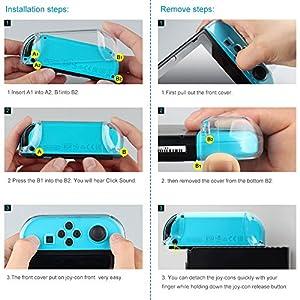 kungber傷防止ハードバックケースカバーfor Nintendoスイッチ透明人間工学アクセサリースキン2017(クリア)