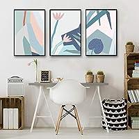 水彩a4写真アート現代キャンバス花絵画ミニマリストプリント幾何学ポスターリビングルームの壁の装飾いいえフレーム60×80センチ×3