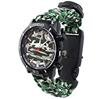 (Green) - Outdoor Survival Watch Military Compass Thermometer Paracord Rope Bracelet Wristband Hand-woven Camouflage Men Wrist Watch