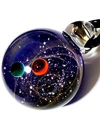 匠の技 神秘的な 宇宙 銀河 ガラス ネックレス ペンダント 世界 地球 地球儀 ステンレス チェーン アクセサリー (60)