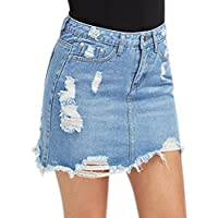 Petalum Women Stretchy Pencil Denim Midi Skirt Bodycon Skinny Casual Distressed Ripped Short Skirt