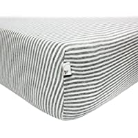 Burt's Bees Baby Classic Stripe Organic Fitted Crib Sheet, Heather Grey by Burt's Bees Baby