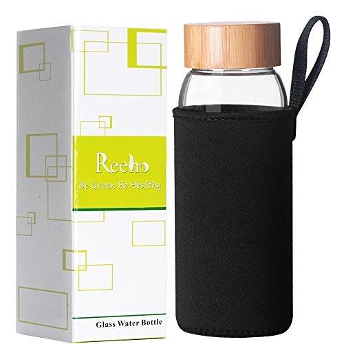 reeho 24オンスBPAフリーホウケイ酸ガラスウォーターボトルポータブル保護ネオプレンスリーブ