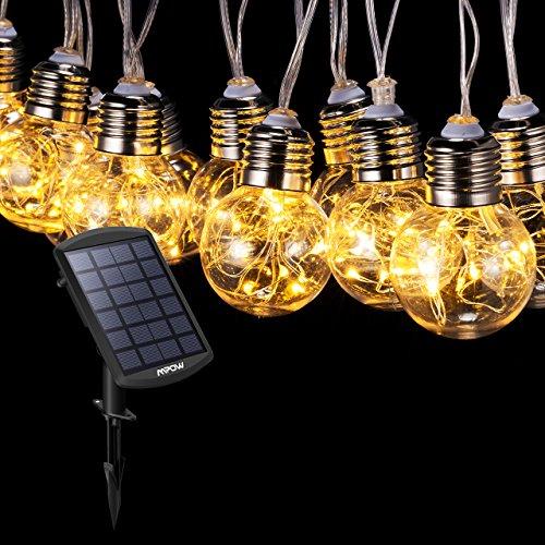 Mpow ストリングライト バブル型 ソーラー充電式 15電...