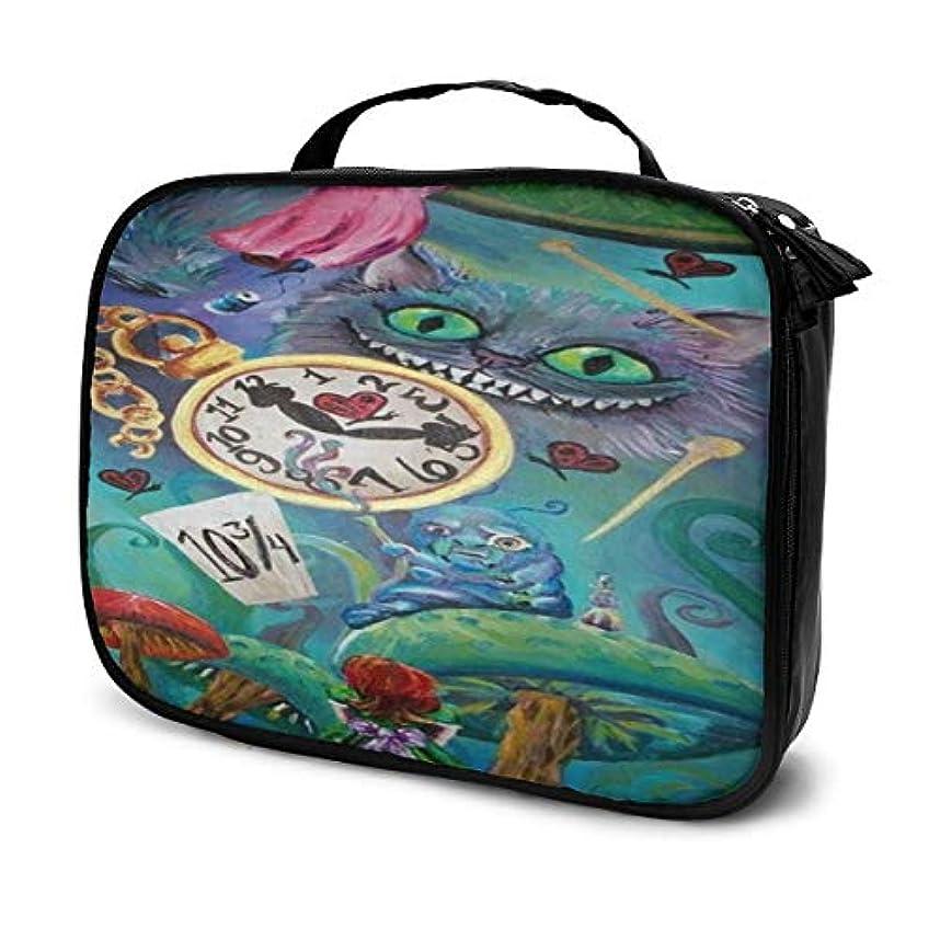 クロス方言艶Daitu不思議の国のアリス 化粧品袋の女性旅行バッグ収納大容量防水アクセサリー旅行