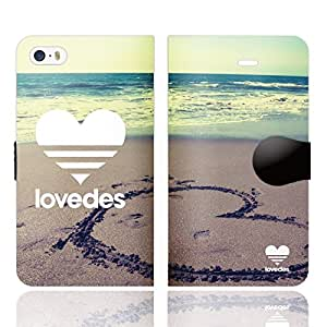 [iPhoneSE 5S 5 兼用 手帳型 ケース カバー] LOVEDES ハワイアン B