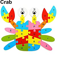 goupgolboll-ファッション木製動物アルファベット文字パズル子供教育発達玩具 - カニ