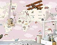 Bzbhart カスタム大漫画地図壁画壁紙現代熱気球飛行機漫画地図動物の世界3 d壁紙tapeten-350cmx245cm