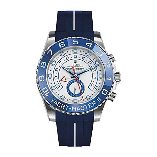 [ラバービー] RubberB ラバーベルト ROLEX ヨットマスターII(44mm)専用ラバーベルト(ROLEX純正バックルを使用)(ブルー×ホワイト)※時計は付属しません(Watch is not included)[並行輸入品]