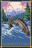 Mammoth湖、カリフォルニア–Fly Fishing ( 12x 18Collectibleアート印刷、壁装飾トラベルポスター)