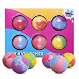 SPLASHOO Bath Bombs for Kids, Gift Set of 6 Huge 5oz Fizzies, Girls and Boys with Surprise Unisex Toys Inside - Long Fizzing for Extra Bath Time Fun