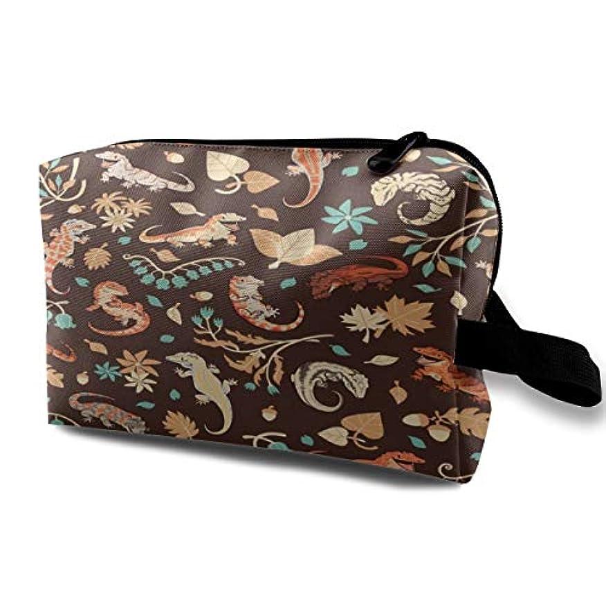 パーフェルビッド報酬リンケージAutumn Geckos In Dark Brown 収納ポーチ 化粧ポーチ 大容量 軽量 耐久性 ハンドル付持ち運び便利。入れ 自宅?出張?旅行?アウトドア撮影などに対応。メンズ レディース トラベルグッズ