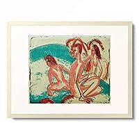 エルンスト・ルートヴィヒ・キルヒナー Ernst Ludwig Kirchner 「Badende an Steinen」 額装アート作品