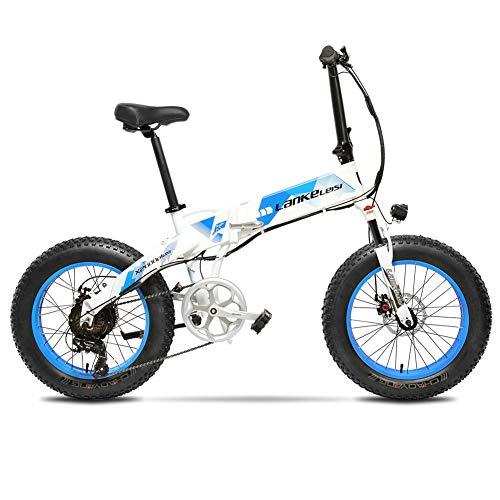 Cyrusher X2000 500W ミニ折り畳みアシスト自転車 軽量アルミフレーム フルサスペンション ファットバイク 7段速電動アシスト自転車 48V10ah (青)