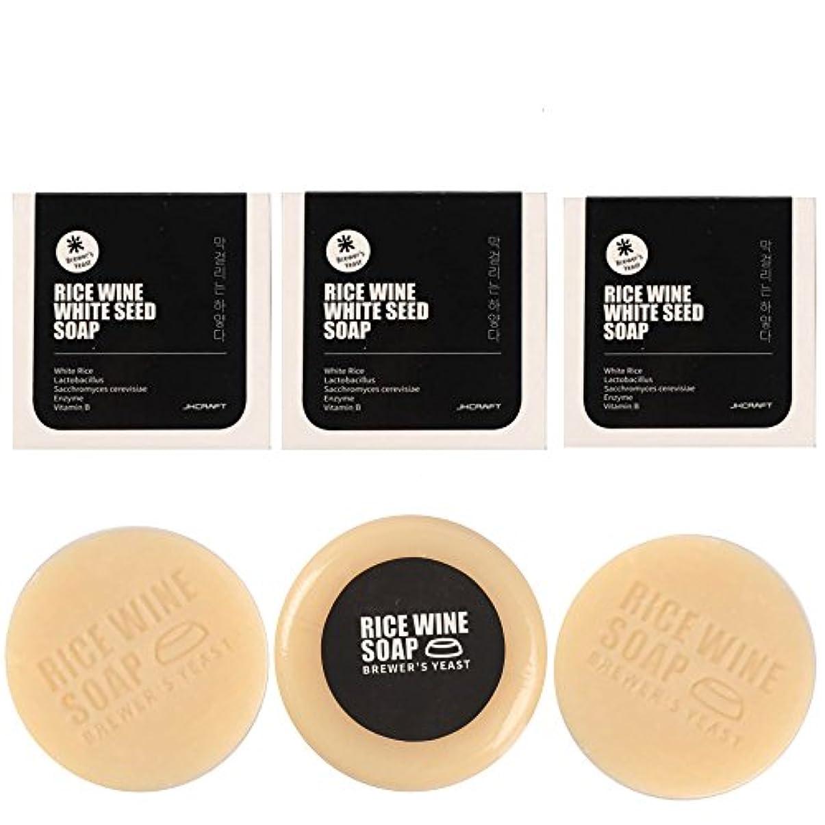 賛辞ピース硫黄JKCRAFT RICEWINE WHITE SEED SOAP マッコリ酵母石鹸 3pcs [並行輸入品]マッコリ酵母石鹸,無添加,無刺激,天然洗顔石鹸