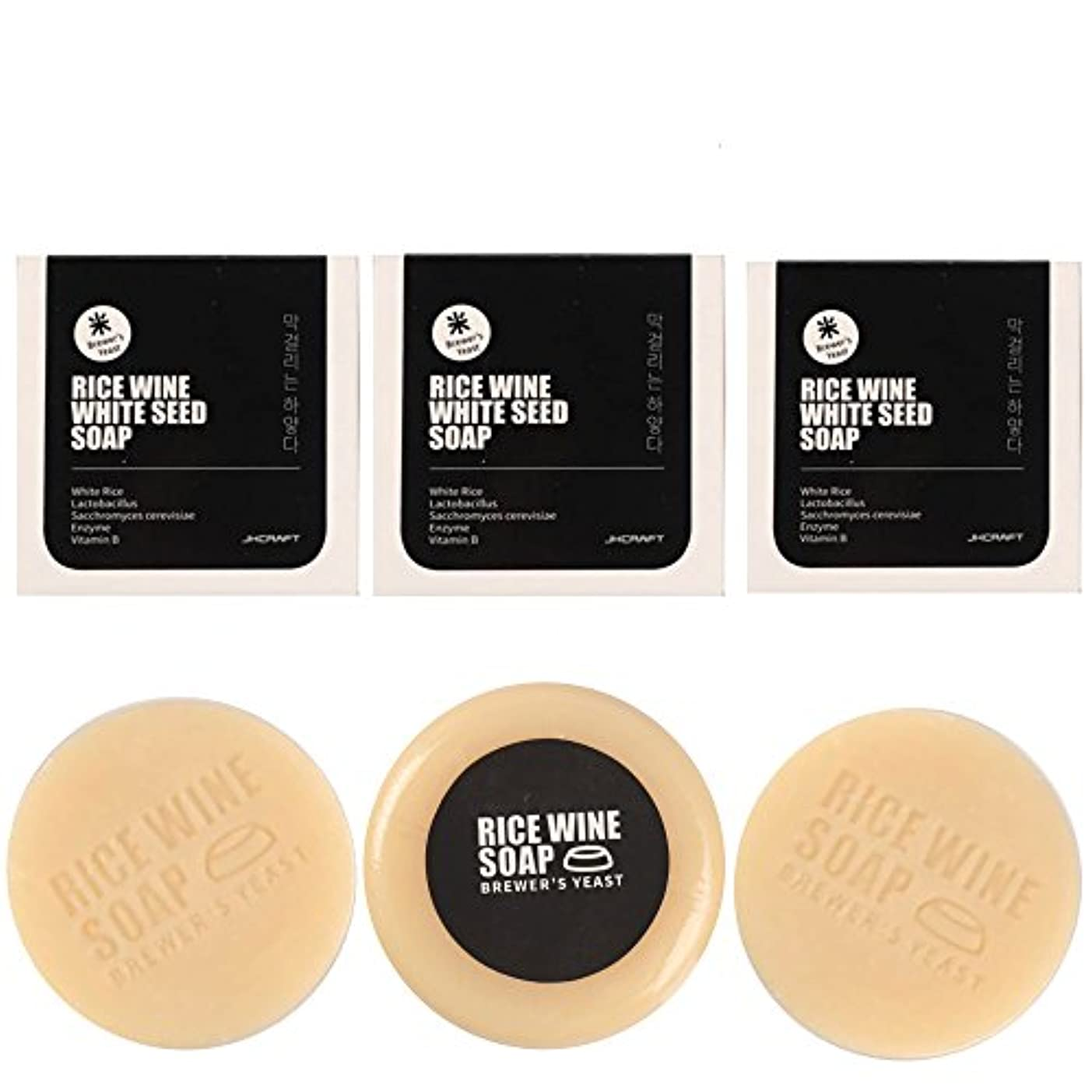 ドライバ苦いあからさまJKCRAFT RICEWINE WHITE SEED SOAP マッコリ酵母石鹸 3pcs [並行輸入品]マッコリ酵母石鹸,無添加,無刺激,天然洗顔石鹸