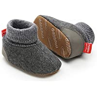 Tutoo Baby Boys Girls Fleece Boot with Soft Non Slip Cloth Bottom Infant First Walker Sock Crib Shoes