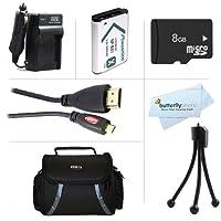 8GBアクセサリーキットfor Sony hdr-cx240、hdr-pj275、hdr-as30V、- as15、hdr-cx440、hdr-cx405、hdr-pj440、fdr-x1000V、as200Vカメラは8GB Micro SDメモリカード+交換用( 1600mAh ) NP - bx1バッテリー+ AC / DC充電器+マイクロHDMIケーブル+ケース+ More