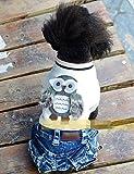犬の服 犬服 あったかい 前開き つなぎ スナップボタン デニム コスチューム フクロウ ドッグウエア ワンちゃん服 ペット用品 【犬用防寒着】 (M, ホワイト)