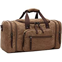 Efuly Unisex Canvas Holdall, Shoulder Backpack Large Travel Tote Luggage Men's Overnight/Weekender Duffle Bag for Women & Men with 44L(Expansion Capacity:58 * 25 * 30cm)