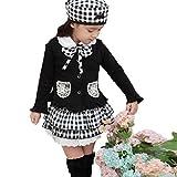 (カエナリエ)Kaenarie 女の子 フォーマル セットアップ カーディガン フリル スカート 上下 ベレー帽付き 黒 ギンガムチェック 2才 ~ 8才 (120)