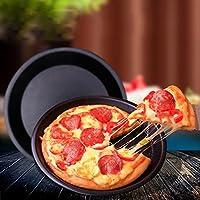 新しい人気の8インチラウンドピザケーキパントレイ炭素鋼ノンスティックオーブンピザプレートパンAccesoriosデCocinaキッチン-25