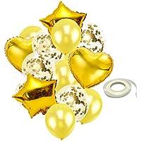 Homyl バルーンセット 風船 紙吹雪バルーン スター 星型 ハート リボン 結婚式装飾 パーティー おもちゃ 2色選べ - ゴールド