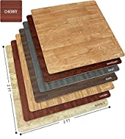 Sorbus Wood Floor Mats Foam Interlocking Wood Mats Each Tile 4 Square Feet 3/8-Inch Thick Puzzle Wood Tiles with Borders – for Home Office Playroom Basement (6 Tiles 24 Sq ft, Wood Grain - Cherry) [並行輸入品]