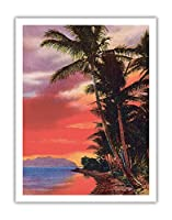 アイルO '夢、ハワイ - ビンテージなハワイアンカラーのハガキ c.1930s - アートポスター - 51cm x 66cm