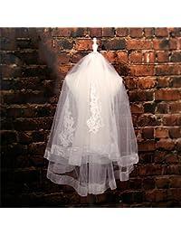 シュウクラブ- 花嫁のベール白いウェディングドレスアクセサリーパール刺繍されたベールの短いセクションダブルレイヤー