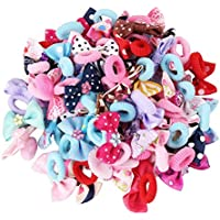 Baby Girls Bow Elastic Ties,Ponytail Holders,Hair Bands,Hair Elastics,Value Set (small bow for baby girl)