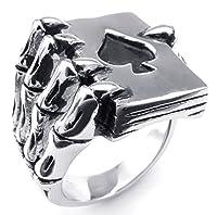 PW 高品質チタン&ステンレス@髑髏xスペード指輪@ 23399 シルバー(銀色) 【ラッピング対応】